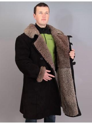 Бекеша офицерская, армейская дубленка из овчины, черная, мужская, 60 размер, новодел