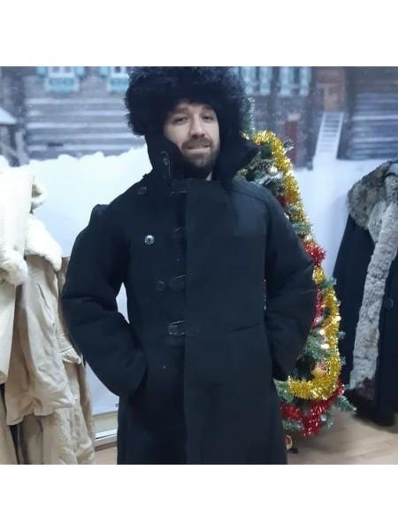 Бекеша офицерская, армейская дубленка из овчины, черная, мужская, 70 размер, новодел
