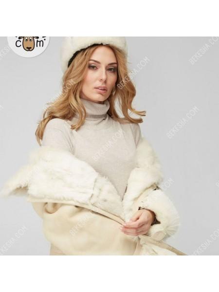 Бекеша женская из овчины, офицерская дубленка, белая, размер 44-70
