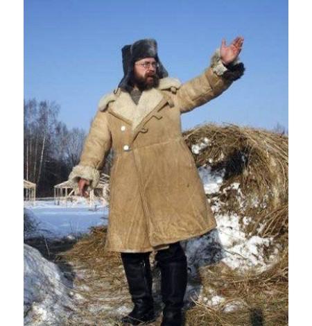 Бекеша офицерская, пр-во СССР, армейская дубленка из овчины, белая, мужская, 52 размер