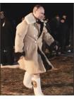 Бекеша офицерская, пр-во СССР, армейская дубленка из овчины, белая, мужская, 50 размер