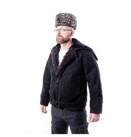 """Куртка ВМФ - """"Канадка"""" замшевая кожаная меховая натуральная овчина зимняя мужская, размер 46-70"""