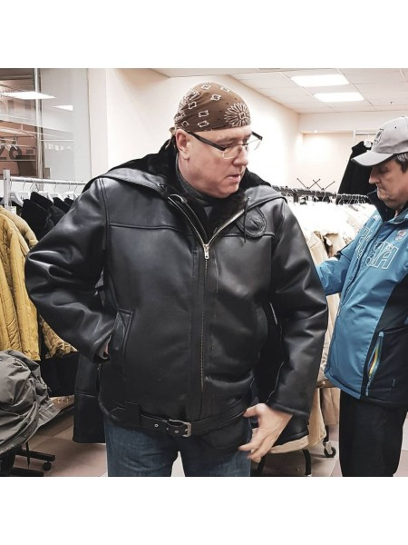 Куртка вмф Канадка СССР кожаная меховая натуральная овчина зимняя черная мужская, размер 46-76
