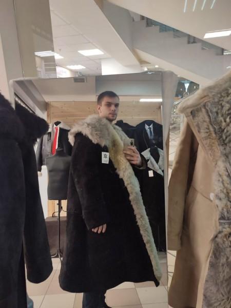 Тулуп армейский из овчины караульный размер 50 белый, черный, по ГОСТ СССР