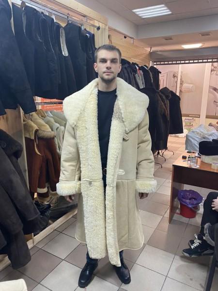 Тулуп армейский из овчины караульный размер 72 белый, черный, по ГОСТ СССР