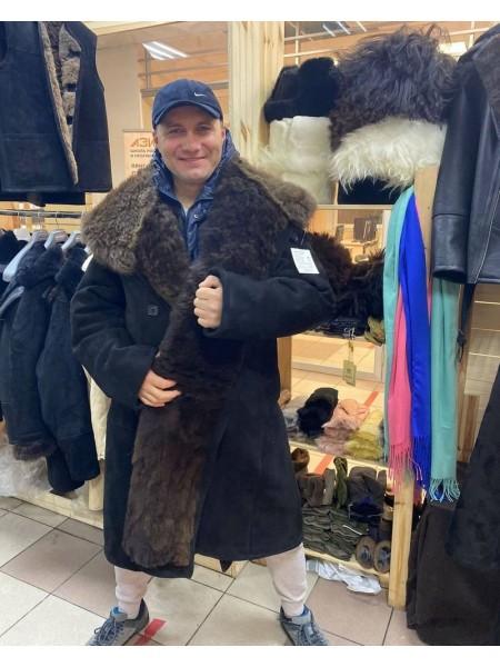 Тулуп армейский из овчины караульный размер 70 белый, черный, по ГОСТ СССР