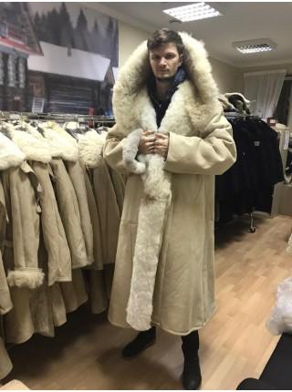 Тулуп армейский из овчины караульный размер 68 белый, черный, по ГОСТ СССР