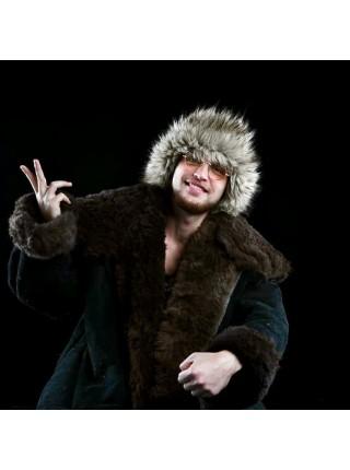 Тулуп армейский из овчины караульный размер 66 белый, черный, по ГОСТ СССР