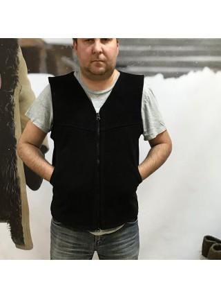 Жилет меховой овчинный замшевый мужской, черный и бежевый, размер 42-70